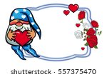 oval label with roses and cute...   Shutterstock .eps vector #557375470