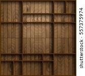 wood shelf in front of wooden... | Shutterstock .eps vector #557375974