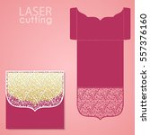 vector die laser cut envelope... | Shutterstock .eps vector #557376160