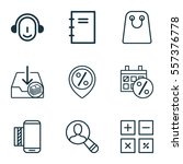 set of 9 ecommerce icons.... | Shutterstock . vector #557376778