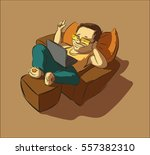 lazy man with a laptop clicks... | Shutterstock .eps vector #557382310