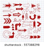 doodle red pen sketch arrows on ... | Shutterstock .eps vector #557388298