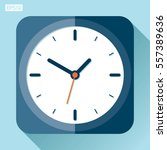 alarm clock icon in flat style  ... | Shutterstock .eps vector #557389636