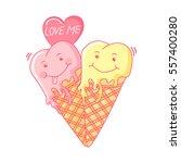 funny ice cream. cartoon sweet... | Shutterstock .eps vector #557400280