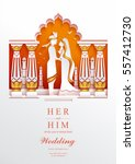 indian wedding invitation card... | Shutterstock .eps vector #557412730