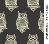 seamless pattern with owls on... | Shutterstock .eps vector #557415508