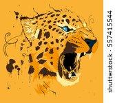 orange splash cheetah   Shutterstock .eps vector #557415544