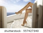 woman legs and heels  | Shutterstock . vector #557427340