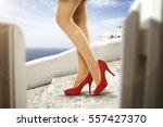 woman legs and heels  | Shutterstock . vector #557427370