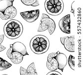 seamless pattern of citrus... | Shutterstock . vector #557432860