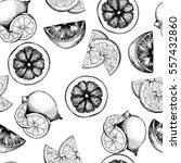seamless pattern of citrus... | Shutterstock . vector #557432860