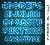 glowing blue neon alphabet with ... | Shutterstock .eps vector #557441116