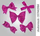 vector pink satin bows set | Shutterstock .eps vector #557443984