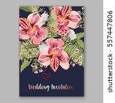 alstroemeria wedding invitation ... | Shutterstock .eps vector #557447806
