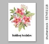 alstroemeria wedding invitation ... | Shutterstock .eps vector #557451118