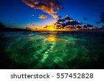 beautiful hawaiian sunset on... | Shutterstock . vector #557452828