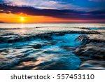 beautiful hawaiian sunset on... | Shutterstock . vector #557453110