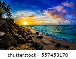 beautiful hawaiian sunset on... | Shutterstock . vector #557453170