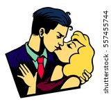 vintage lovers couple kissing ... | Shutterstock .eps vector #557455744