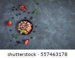 healthy breakfast with muesli... | Shutterstock . vector #557463178