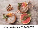 cocktails with grapefruit... | Shutterstock . vector #557468578