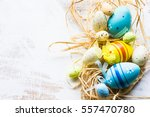 Easter Festive Frame With Eggs...
