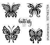 set of black butterflies...   Shutterstock .eps vector #557481754