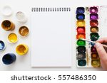artist painting with watercolor ... | Shutterstock . vector #557486350