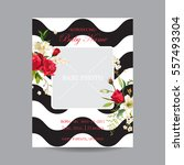 baby arrival card with photo... | Shutterstock .eps vector #557493304