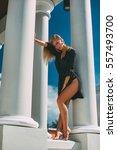 seductive female model in black ... | Shutterstock . vector #557493700