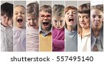 family montage with different... | Shutterstock . vector #557495140