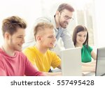 group of teenage students and a ... | Shutterstock . vector #557495428