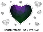 dark pink  green heart isolated ... | Shutterstock .eps vector #557496760