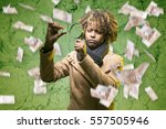 young black girl with... | Shutterstock . vector #557505946