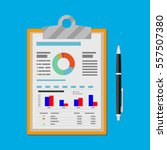 spreadsheet concept. clipboard... | Shutterstock .eps vector #557507380