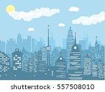 city skyline silhouette at day. ... | Shutterstock .eps vector #557508010