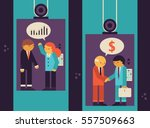 two elevators are filled with... | Shutterstock .eps vector #557509663