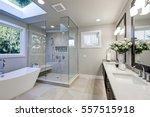 Spacious Bathroom In Gray Tone...