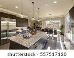 modern gray kitchen features ... | Shutterstock . vector #557517130