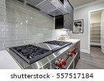 modern gray kitchen features... | Shutterstock . vector #557517184