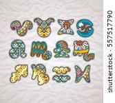 zentangle zodiac icons. funny...   Shutterstock .eps vector #557517790