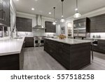 modern gray kitchen features... | Shutterstock . vector #557518258