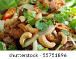 Chicken salad with cashew nut Thai Style. - stock photo