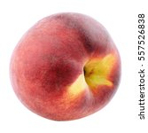 Single Peach Fruit Isolated On...