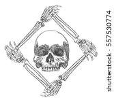 skull in the frame made of... | Shutterstock .eps vector #557530774