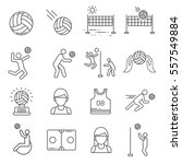 set of volleyball related... | Shutterstock .eps vector #557549884