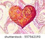 Van Gogh Style Heart. Vector...