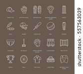 vector line icons of cricket... | Shutterstock .eps vector #557563039