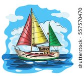 sailing boat colored vector... | Shutterstock .eps vector #557570470