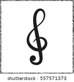 treble clef    black vector icon | Shutterstock .eps vector #557571373